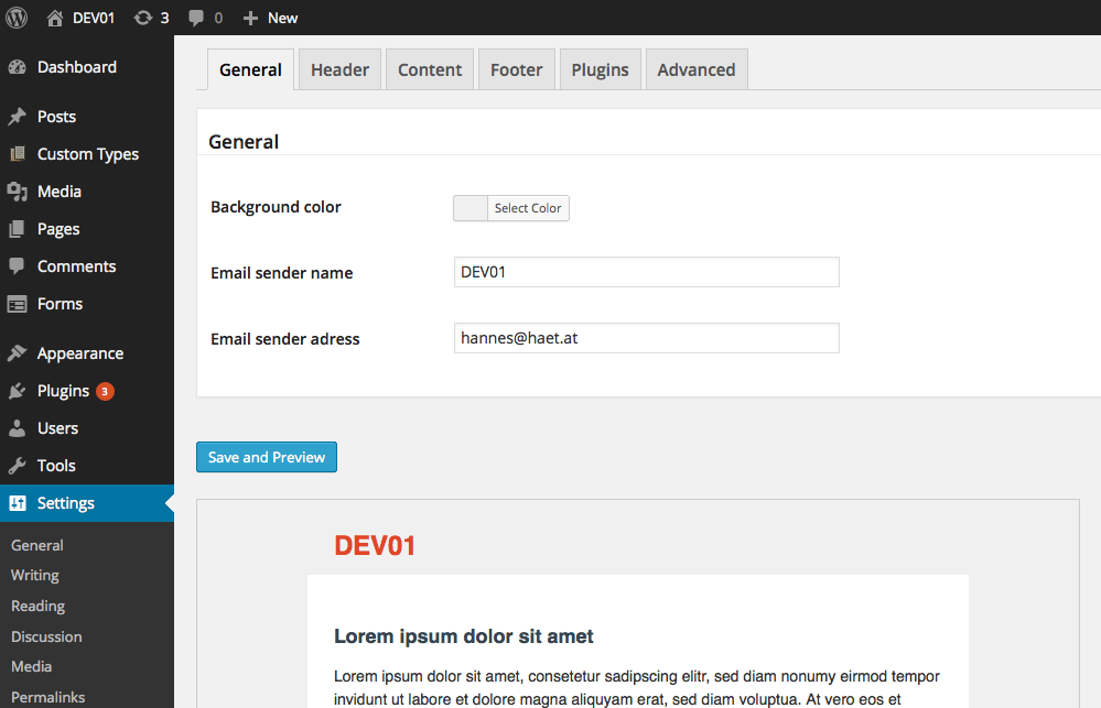 email template screen