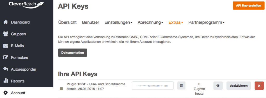 cleverreach api key