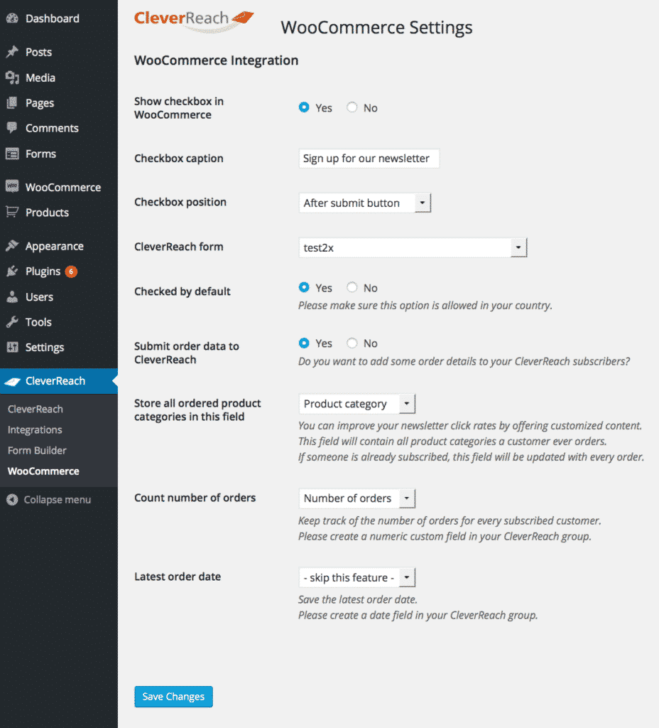 cleverreach woocommerce settings