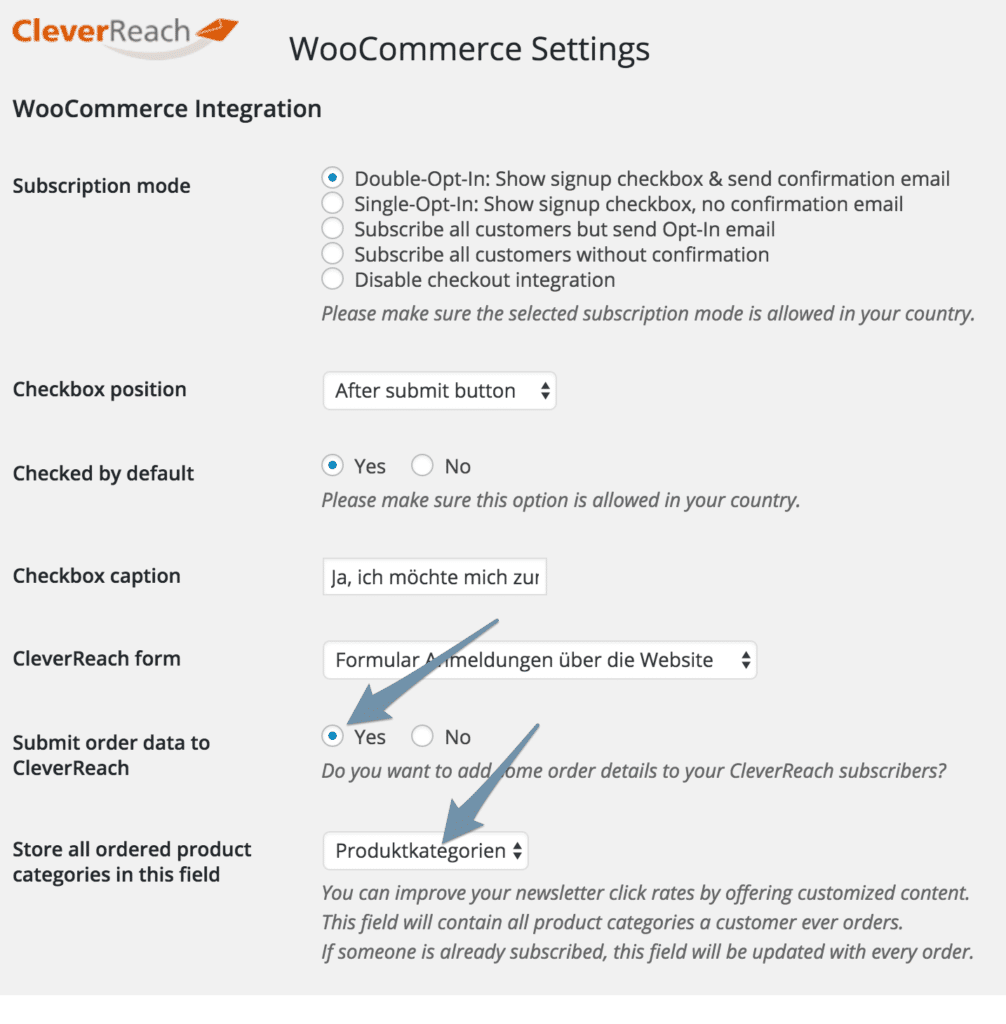 cleverreach-woocommerce-einstellungen